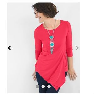 Tops - Chico's ultimate tee asymmetric-hem tunic coral